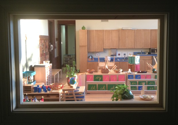 A classroom observation window at Elm City Montessori School.  Photo by Mira Debs